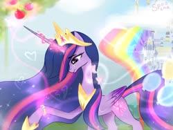 Size: 1200x900   Tagged: safe, artist:spoosha, twilight sparkle, alicorn, pony, the last problem, applejack's cutie mark, bracelet, canterlot, crown, crying, cutie mark, female, fluttershy's cutie mark, glowing horn, grass, horn, immortality blues, jewelry, pinkie pie's cutie mark, princess twilight 2.0, rainbow, regalia, sad, solo, teary eyes, tree, twilight sparkle (alicorn), twilight will outlive her friends