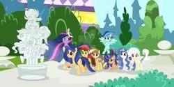 Size: 1024x511 | Tagged: safe, artist:galaxyswirlsyt, artist:velveagicsentryyt, twilight sparkle, oc, oc:apple pie, oc:destiny, oc:galaxy swirls, oc:party pie, oc:rainbow blitzes, oc:sky city, oc:velvet sentry, alicorn, earth pony, hybrid, pegasus, pony, unicorn, the last problem, base used, book, canterlot, deviantart watermark, female, heterochromia, interspecies offspring, magic, mare, obtrusive watermark, offspring, parent:applejack, parent:caramel, parent:cheese sandwich, parent:discord, parent:fancypants, parent:flash sentry, parent:fluttershy, parent:pinkie pie, parent:rainbow dash, parent:rarity, parent:soarin', parent:twilight sparkle, parents:carajack, parents:cheesepie, parents:discoshy, parents:flashlight, parents:raripants, parents:soarindash, princess twilight 2.0, statue, twilight sparkle (alicorn), watermark