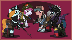 Size: 4000x2252 | Tagged: safe, artist:n0kkun, oc, oc only, oc:bullet storm (ice1517), oc:clear clouds, oc:hyper scope, oc:sky bomb, alicorn, bat pony, bat pony alicorn, pegasus, unicorn, fallout equestria, ak-47, alicorn oc, assault rifle, bandage, bandana, bandolier, bat pony oc, bat wings, bayonet, belt, beret, biker jacket, boots, bullet, cigarette, cigarette pack, clothes, combat boots, crossover, dagger, dirt, dirty, dog tags, dragunov, eye scar, eyebrow piercing, fallout, female, fingerless gloves, gloves, goggles, grenade, gun, hat, helmet, hockey mask, horn, jacket, jeans, knee pads, knife, leather jacket, lip piercing, male, mare, marlboro, mask, mercenary, mp5, mud, pants, piercing, pouch, radio, raised hoof, rifle, rocket launcher, rpg-7, scar, shirt, shoes, sniper, sniper rifle, socks, stallion, striped socks, submachinegun, syringe, t-shirt, tanktop, tape, weapon, wings