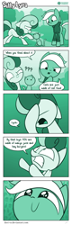 Size: 726x2263 | Tagged: safe, artist:dori-to, bon bon, lyra heartstrings, sweetie drops, cat, earth pony, pony, unicorn, comic:silly lyra, comic, dialogue, female, greenscale, insane troll logic, mare, missing the point, monochrome, silly, silly lyra, smiling, speech bubble