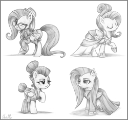 Size: 4258x4000 | Tagged: safe, artist:flutterstormreturns, fluttershy, pegasus, pony, fake it 'til you make it, alternate costumes, alternate hairstyle, clothes, dress, eyes closed, fluttergoth, folded wings, grayscale, hipstershy, monochrome, one eye closed, scene interpretation, severeshy, simple background, traditional art, warrior of inner strength, white background, wings, wink