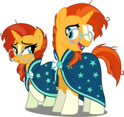 Size: 2494x2346 | Tagged: safe, artist:cloudyglow, artist:whalepornoz, edit, editor:slayerbvc, vector edit, sunburst, pony, unicorn, bedroom eyes, blushing, clothes, cute, duality, female, glasses, male, mare, r63 paradox, raised hoof, robe, rule 63, rule63betes, self ponidox, simple background, socks (coat marking), stallion, sunbetes, sunburst's glasses, sunburst's robe, sunstone (g4 r63 sunburst), transparent background, vector