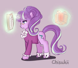 Size: 500x433 | Tagged: safe, artist:puddingskitty, snowfall frost, starlight glimmer, pony, unicorn, a hearth's warming tail, book, female, magic, mare, present, profile, purple background, simple background, solo, telekinesis