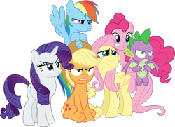 Size: 7420x5370 | Tagged: safe, artist:steyrrdash, applejack, fluttershy, pinkie pie, rainbow dash, rarity, spike, dragon, earth pony, pegasus, pony, unicorn, the ending of the end, absurd resolution, angry, crying, pouting, simple background, teary eyes, transparent background, vector, winged spike