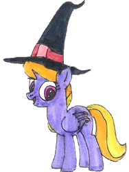 Size: 1016x1352   Tagged: safe, artist:topsangtheman, cloud kicker, pegasus, pony, female, hat, looking at you, missing accessory, simple background, solo, traditional art, transparent background, witch hat
