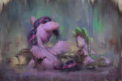 Size: 1200x800   Tagged: safe, artist:assasinmonkey, spike, twilight sparkle, alicorn, dragon, pony, book, duo, female, male, mare, rain, reading, sitting, twilight sparkle (alicorn), winged spike