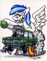 Size: 1024x1338   Tagged: safe, artist:sketchywolf-13, oc, oc only, unnamed oc, pegasus, pony, blower, cars (pixar), chevrolet, chevrolet camaro, commission, fangs, fire, ford, ford mustang, gasser, male, rat fink, sharp teeth, shelby, simple background, smoke, solo, stallion, supercharger, teeth, traditional art, white background, wings
