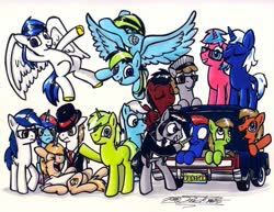Size: 1024x792   Tagged: safe, artist:sketchywolf-13, oc, oc only, oc:circuit mane, oc:sketchy, earth pony, pegasus, pony, unicorn, car, clothes, cutie mark, female, hat, horn, knife, lincoln (car), lincoln continental, male, mare, simple background, stallion, tail, traditional art, trunk, white background, wings