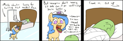 Size: 1305x434 | Tagged: safe, artist:happy harvey, oc, oc only, oc:anon, oc:little league, earth pony, human, pony, adult, bed, caring, caring for the sick, cast, chewing, colored pupils, comic, dialogue, drawn on phone, eating, feeding, female, filly, food, in bed, male, talking with your mouth full, walking