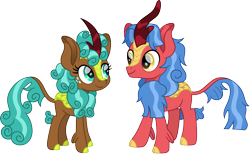 Size: 2429x1500 | Tagged: safe, artist:cloudyglow, biscuit, spur, kirin, cute, duo, female, freckles, kirin-ified, looking at each other, male, simple background, species swap, spurbetes, transparent background