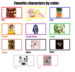 Size: 697x672 | Tagged: safe, apple bloom, fluttershy, rainbow dash, royal ribbon, oc, oc:mitta, oc:ruby, pegasus, pony, story of the blanks, abby's flying fairy school, anarchy stocking, black, blue, brown, chibiusa tsukino, clothes, creepybloom, crossover, cuphead, cuphead (character), designing women, dress, favourite characters by color meme, five nights at freddy's, food, foxy, freddy fazbear, gonnigan, gray, green, mario, movieunleashers, my life as a teenage robot, nintendo, orange, panty and stocking with garterbelt, pink, princess daisy, purple, qt-2, red, sailor moon, sesame street, studio mdhr, text, vexus, white, yellow