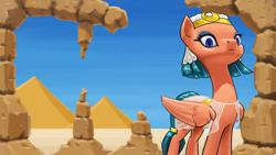 Size: 3840x2160 | Tagged: safe, artist:tadpoledraws, somnambula, pegasus, pony, 4k, day, looking at you, pyramid, ruins, solo