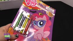 Size: 1280x720 | Tagged: safe, pinkie pie, earth pony, human, pony, bin's crafty bin, bin's toy bin, blue, clothes, coloring book, crayon, crown, dress, female, gown, green, halloween, hand, holiday, jewelry, mare, mask, princess pinkie pie, pumpkin bucket, red, regalia, solo, trick or treat, yellow