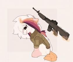 Size: 1280x1096 | Tagged: safe, artist:little-sketches, oc, oc:ayaka, pony, unicorn, alternate design, assault rifle, body armor, female, gun, magic, mare, race swap, rifle, spec ops: the line, weapon