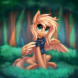 Size: 2160x2160 | Tagged: safe, artist:setharu, oc, oc only, oc:mirta whoowlms, pegasus, pony, clothes, collar, cute, female, forest, mare, scarf, sitting, solo, tree, wings