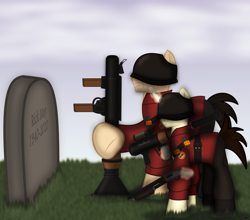 Size: 2550x2240   Tagged: safe, artist:99999999000, oc, oc:cwe, earth pony, pony, unicorn, coronavirus, covid-19, direct hit, grave, gun, in memoriam, ponified, rest in peace, rick may, rocket launcher, sad, shotgun, soldier, team fortress 2, valve, weapon