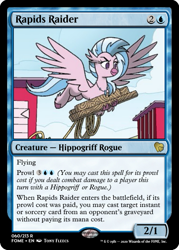 Size: 375x523 | Tagged: safe, artist:tonyfleecs, edit, silverstream, hippogriff, spoiler:comicfeatsoffriendship02, ccg, magic the gathering, rope, trading card, trading card edit, wood