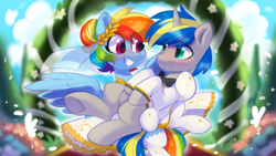 Size: 1280x720 | Tagged: safe, artist:colorfulcolor233, rainbow dash, oc, oc:dopami korpela, pegasus, pony, unicorn, blushing, canon x oc, clothes, cute, dopadash, dress, female, horn, irony, looking at each other, male, mare, marriage, shipping, smiling, stallion, straight, tuxedo, unicorn oc, wedding, wedding dress