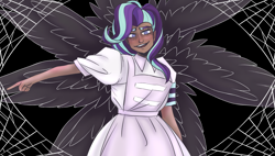 Size: 1236x701 | Tagged: safe, starlight glimmer, human, unicorn, apron, armband, clothes, creepy, creepy smile, cult, cult leader, cultist, dark skin, equal sign, equality, equality cult, equalized, ghost and pals, glim jones, honey i'm home, humanized, industrial catholic bugcore, smiling, solo, song reference, spider web, this will end in communism, this will end in jonestown, vocaloid, wings