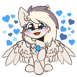 Size: 1900x1900 | Tagged: safe, artist:dark lightning, oc, oc only, oc:riley, pegasus, pony, blushing, chest fluff, chibi, cute, glasses, happy, heart, love, ocbetes, open mouth, simple background, sitting, smiley face, smiling, solo, white background