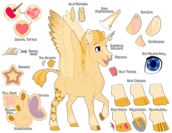 Size: 4500x3500   Tagged: safe, artist:jackiebloom, alicorn, bedazzled, body modification, branding, cloven hooves, gem, horn, horn piercing, horseshoes, male, nose piercing, nose ring, piercing, shaved mane, shaved tail, solo, split tongue, stallion, tattoo