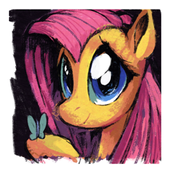 Size: 1500x1500 | Tagged: safe, artist:docwario, fluttershy, butterfly, pegasus, pony, bust, female, looking at you, mare, portrait, raised hoof, smiling, solo, three quarter view