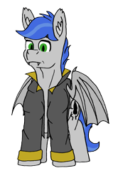 Size: 1713x2581 | Tagged: safe, artist:summerium, oc, oc only, oc:shade stride, bat pony, bat wings, clothes, ear fluff, fangs, front view, jacket, male, sierra nevada, simple background, solo, transparent background, wings