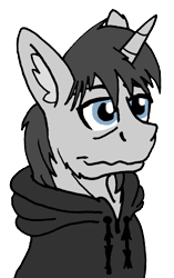 Size: 1446x2299 | Tagged: safe, artist:summerium, oc, oc only, oc:santander, unicorn, bags under eyes, clothes, ear fluff, hoodie, male, sierra nevada, simple background, solo, transparent background
