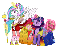 Size: 2200x1737 | Tagged: safe, artist:sepiakeys, princess celestia, twilight sparkle, alicorn, accessories, alternate hairstyle, book, clothes, collar, crown, dress, ear fluff, elizabethan, eyeshadow, jewelry, lipstick, makeup, quill, regal, regalia, ruff (clothing), scepter, shoes, simple background, twilight sparkle (alicorn)