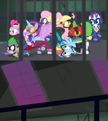 Size: 1280x1440 | Tagged: safe, edit, edited screencap, screencap, applejack, fili-second, fluttershy, humdrum, masked matter-horn, mistress marevelous, pinkie pie, radiance, rainbow dash, rarity, saddle rager, spike, twilight sparkle, zapp, alicorn, dragon, earth pony, pegasus, pony, unicorn, power ponies (episode), cage, mane seven, mane six, power ponies, someone sees the heroes trapped, template, twilight sparkle (alicorn)