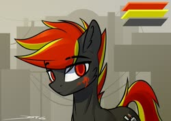 Size: 1280x904 | Tagged: safe, artist:deafjaeger, oc, oc only, oc:deafjaeger, earth pony, pony, avatar, city, cyber, cyber eyes, cyberpunk, desert, reference, solo