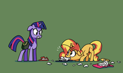 Size: 2920x1729 | Tagged: safe, artist:docwario, sunset shimmer, twilight sparkle, pony, unicorn, angry, bag, behaving like a dog, book, duo, green background, saddle bag, silly, silly pony, simple background