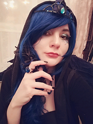 Size: 958x1278 | Tagged: safe, artist:evescintilla, princess luna, human, clothes, cosplay, costume, feather, irl, irl human, jewelry, photo, ring, tiara, wings