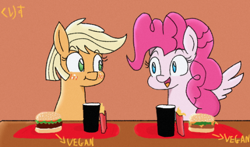Size: 540x318 | Tagged: safe, artist:kurisunimii, applejack, pinkie pie, earth pony, pegasus, pony, alternative universe, applepie, blushing, cute, date, dating, eating, female, food, french fries, girlfriends, happy, lesbian, pegasus pinkie pie, race swap, shipping, vegan, vegan burgers