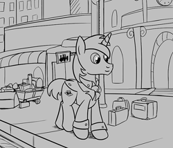 Size: 700x600 | Tagged: safe, artist:sirvalter, oc, oc only, oc:scripted switch, pony, unicorn, fanfic:steyblridge chronicle, baltimare, black and white, city, clothes, fanfic, fanfic art, grayscale, hooves, horn, illustration, male, monochrome, scientist, solo, stallion, suit, suitcase, tuxedo