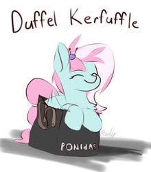 Size: 878x998 | Tagged: safe, artist:renderpoint, kerfuffle, pegasus, pony, rainbow roadtrip, bag, behaving like a cat, chest fluff, cute, duffle bag, eyes closed, female, fufflebetes, if i fits i sits, leaning, mare, misspelling, pun, simple background, smiling, text, white background