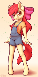 Size: 2000x4000 | Tagged: safe, artist:ohemo, apple bloom, anthro, earth pony, unguligrade anthro, adorabloom, bow, clothes, cute, female, filly, hair bow, high res, looking at you, overalls, shirt, smiling, solo, t-shirt