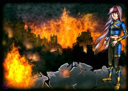 Size: 3508x2480 | Tagged: safe, oc, oc:wandering sunrise, human, fallout equestria, fallout equestria: dead tree, fire, foe, humanized, ruins, wandering sunrise