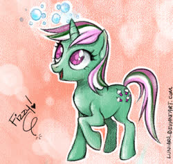 Size: 527x500 | Tagged: safe, artist:luniara, fizzy, pony, unicorn, cute, g1, g1 to g4, generation leap, simple background