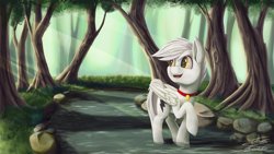 Size: 3840x2160 | Tagged: safe, artist:ilicksunshine, oc, oc only, oc:bolt the super pony, pegasus, pony, folded wings, forest, open mouth, smiling, solo, wings