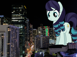 Size: 2400x1800 | Tagged: safe, artist:jhayrr23, edit, vector edit, coloratura, earth pony, pony, city, female, giant pony, giantess, highrise ponies, irl, macro, mare, miami, photo, ponies in real life, vector