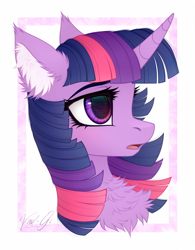 Size: 1280x1639 | Tagged: safe, artist:vird-gi, twilight sparkle, pony, abstract background, bust, chest fluff, cute, ear fluff, female, fluffy, mare, open mouth, portrait, profile, solo, twiabetes