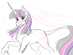 Size: 1250x950 | Tagged: safe, artist:its-gloomy, twilight sparkle, alicorn, pony, blushing, cloven hooves, leonine tail, sketch, solo, twilight sparkle (alicorn), unshorn fetlocks