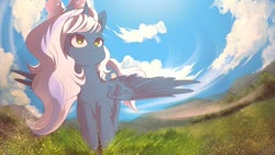 Size: 1024x576 | Tagged: safe, artist:sketchnightmare, oc, oc:fleurbelle, alicorn, alicorn oc, bow, cloud, female, flying, grass, grass field, hair bow, mare, sky, smiling, yellow eyes