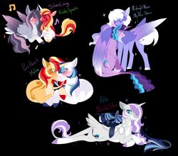 Size: 5000x4407 | Tagged: safe, artist:clay-bae, oc, oc:alto, oc:helios, oc:kindle sparks, oc:midnight muse, oc:mythic show, oc:north star, oc:pure heart, oc:silver lining, pegasus, pony, unicorn, absurd resolution, female, magical lesbian spawn, male, mare, oc x oc, offspring, parent:big macintosh, parent:double diamond, parent:fluttershy, parent:party favor, parent:princess cadance, parent:princess luna, parent:rarity, parent:rumble, parent:shining armor, parent:sunset shimmer, parent:sweetie belle, parent:tempest shadow, parent:twilight sparkle, parents:flarity, parents:lunadiamond, parents:rumbelle, parents:shimmermac, parents:shiningcadance, parents:tempestlight, parents:twifavor, shipping, simple background, stallion, transparent background
