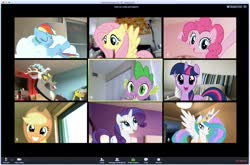 Size: 2124x1398 | Tagged: safe, applejack, discord, fluttershy, pinkie pie, princess celestia, rainbow dash, rarity, spike, twilight sparkle, alicorn, draconequus, dragon, earth pony, pegasus, pony, unicorn, coronavirus, discovery family, mane seven, mane six, official, stock vector, zoom