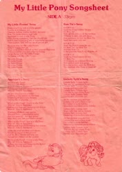 Size: 2472x3487 | Tagged: safe, bowtie (g1), posey, pony, bow, g1, have a gay old time, lickety-split's song, lyric sheet, lyrics, my little ponies' song, official, poseybetes, seven songs and a story, spell my pony's name for me, tail bow, text, this will end in colic, tieabetes, who's a silly pony