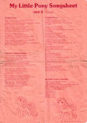 Size: 2479x3489 | Tagged: safe, cherries jubilee, tootsie, bow, cherries cuteilee, cherries jubilee's song, cute, g1, lyric sheet, lyrics, my little ponies' song, official, posey's song, seven songs and a story, song reference, tail bow, text, tootsie cute, tootsie's song