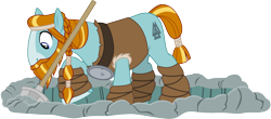 Size: 6000x2641 | Tagged: safe, artist:cloudyglow, rockhoof, earth pony, pony, campfire tales, .ai available, beard, braid, facial hair, hoof wraps, male, moustache, rockhoof's shovel, shovel, simple background, solo, stallion, tail wrap, transparent background, vector