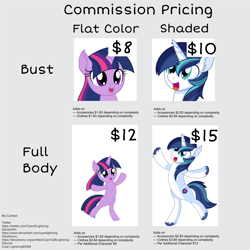 Size: 3001x3001 | Tagged: safe, artist:cyanlightning, shining armor, twilight sparkle, pony, unicorn, advertisement, commission info, female, filly, filly twilight sparkle, high res, male, open mouth, smiling, solo, stallion, younger